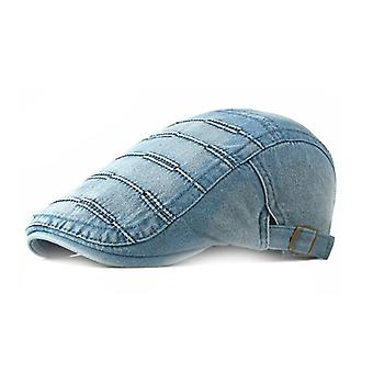 Men's Denim Newsboy Caps Washed Jean Gatsby Ivy Irish Hats 4 Colors Adjustable Size