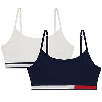 Tommy Hilfiger Girls 2 Pack COLOR BLOCK CTN Bralette, Navy Blazer / Snow White, Age 12-14
