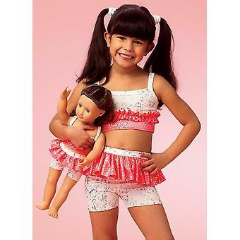 Kwik Sew Sewing Pattern 4054 Girls Dolls Ruffled Tops Shorts Size XS-XL 4-14 UC