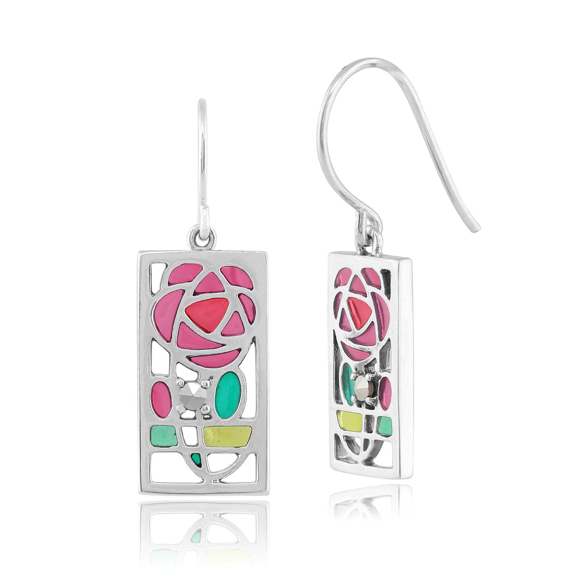 Gemondo Sterling Silver Marcasite Rennie Mackintosh Rose Style Drop Earrings