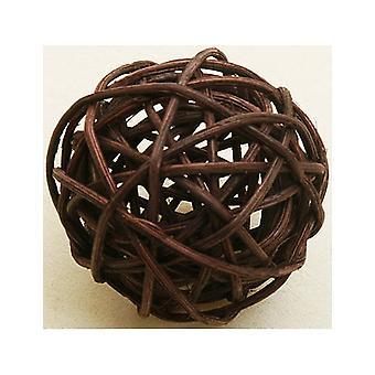 6 Boules en osier marrons 3,5 cm