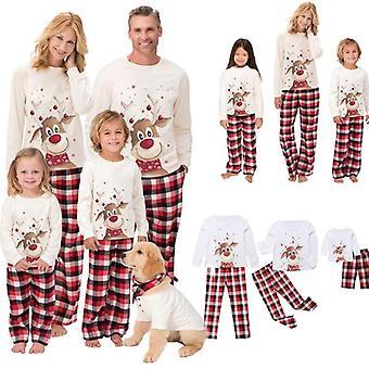 Joulu pyjama setti, Naiset Lapset Perhe Top +housut
