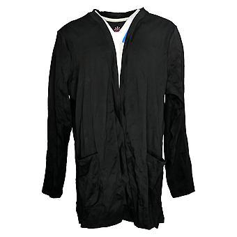 Isaac Mizrahi En vivo! Women's Plus Top Essential Knit Cardigan Negro A390690