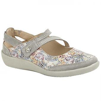 Boulevard L388f Ladies Leather Mary Jane Shoes Grey