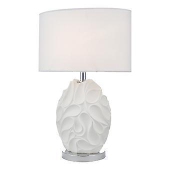 Tafellamp Wit Ovaal Met Ronde Trommelkap