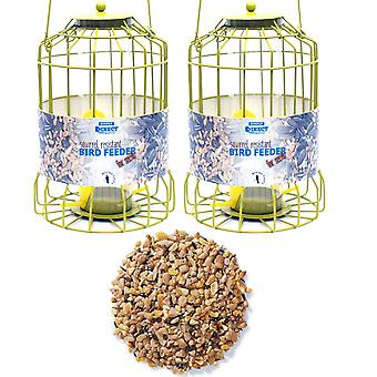 2 x Simply Direct Squirrel Guard Hanging Seed Feeders with 12.75KG Bag of Mixed Seed Feed for Wild Garden Birds