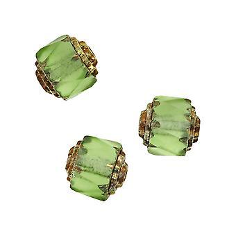 Czech Cathedral Glass Beads 8mm Matte Peridot Green/Gold Ends (10)