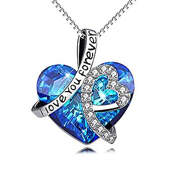 """sterling silver ollana """"Ti amer forever"""" Pendant with SWAROVSKI crystals, women's jewelry, gift from donn"""