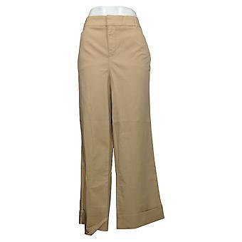 Martha Stewart Women's Pants Plus Chino Wide-Leg Cuffed Beige A354315