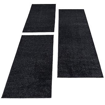 Seng grænse tæppe 3 stykke uni runner sæt kort bunke monokrom soveværelse gangen farve antracit