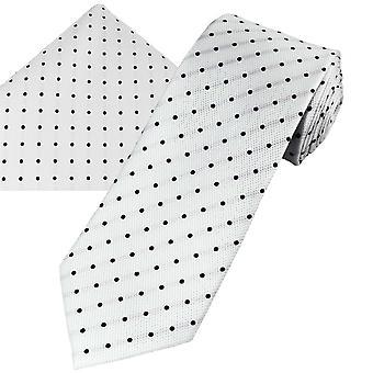 Nyakkendők Planet Gold Label White & Fekete Pöttyös Selyem férfi nyakkendő , Pocket Square zsebkendő szett