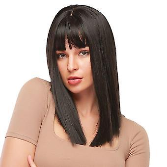 Čierna stredne dlhé rovné vlasy prírodný šál priedušné rany syntetické parochne