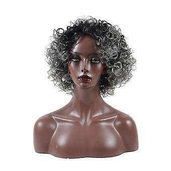 Ludzkie włosy peruka krótki curly dla starych