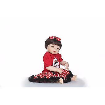 23'' Lifelike reborn baby dolls white skin babies doll full vinyl body so truly girl model doll for bebe toy gifts