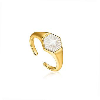 Ania Haie Compass Emblem Gold Adjustable Ring R030-04G