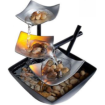 Indoor 3-tier Relaxation Tabletop Fountain, Extra Deep Basin With Lighting Feature
