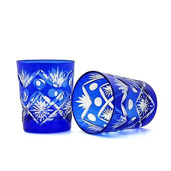 2pcs Handmade High Quality Hand Cut To Clear Crystal Drinkware Whiskey Cup
