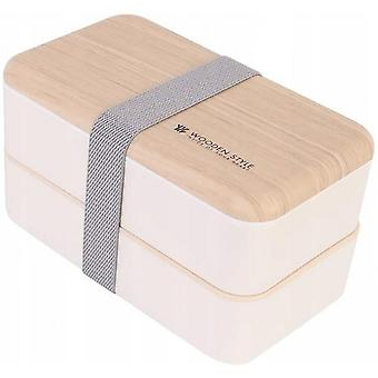 Lunch Box Food Storage 2 Square Containers, Used For Chopsticks And Teaspoons, Without Liquid Waterproof Wood Grains Bpa (pink, 18.5 * 10,5 * 9.2 Cm)
