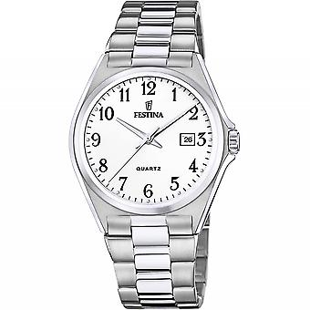 Festina F20552-1 Men's White Dial Steel Bracelet Wristwatch