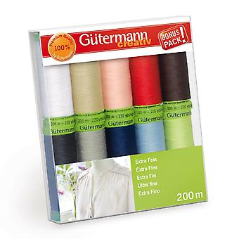 Gutermann 10 TrådSæt: Sy alt ekstra fint - forskellige farver