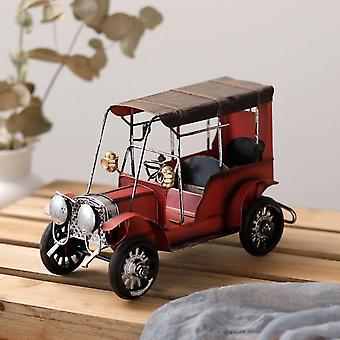 Aionyaaa Vintage Old Tin Classic Car Home Decor Iron Metal Handicraft Collection Gift-red