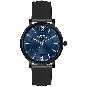 Carlo Cantinaro Black Genuine Leather CC1003GL007 Men's Watch