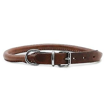 Pet leashes heritage leather round sewn collar chestnut 35-43cm sz 4
