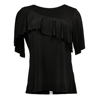 DG2 by Diane Gilman Women's Top Reg Liquid Jersey Knit Ruffle Black 696688