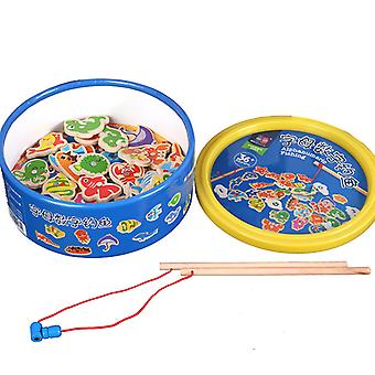 Children's Magnetic Alphanumerical Bucket Fishing Game Wooden Fun Interactive Toy