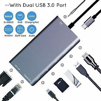 Usb-c To Lan Rj45 4k Hdmi Vga 2usb 3.0 8 In 1 Sd Card Reader Type C Adapter