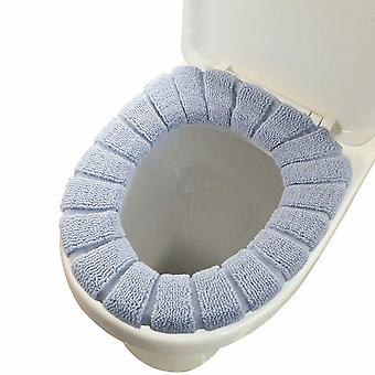 Bathroom Soft Thicker Warmer Stretchable Washable Cloth Toilet Seat Cover Pad