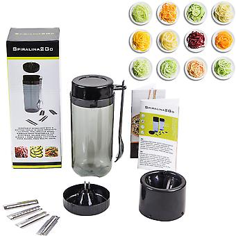 Spiralina2Go - Vegetable Spiraliser with 5 Cutting Tools to Make Spaghetti / Julienne Tagliatelli & Spiral Ribbons from Vegetables for Stir-fries Salads and Pasta Dishes + Fork Spoon Container Hand Guard FREE Recipe Ideas.