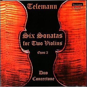 Duo Concertone Zino/Bogachek - Telemann: Six Sonatas for Two Violins, Op. 2 [CD] USA import
