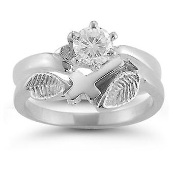Christian Cross White Topaz Bridal Wedding Ring Set in Sterling Silver