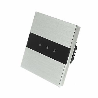I LumoS Silver Brushed Aluminium Panel 3 Gang 1 Way WIFI/4G Remote Touch LED Light Switch