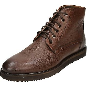 Frank Wright Duane Black Milled Leather Lace Up Ankle Boots