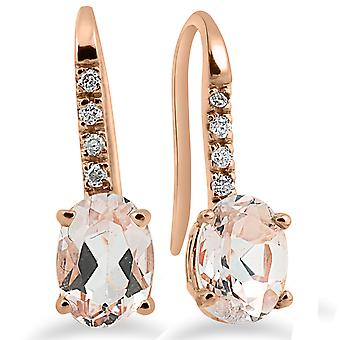 "1 1/5Ct Morganite & Diamond Drop Boucles d'oreilles 14K Rose Gold 3/4"" Tall"