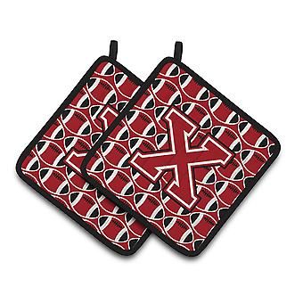 Letter X Football Red, Black and White Pair of Pot Holders