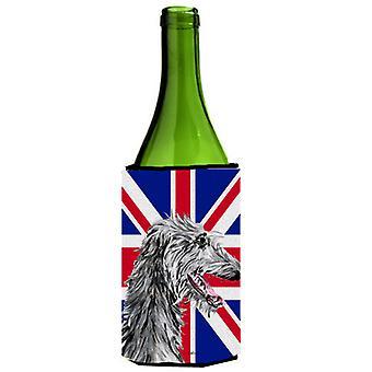 Scottish Deerhound con inglese Union Jack bandiera britannica bottiglia di vino bevanda Ins