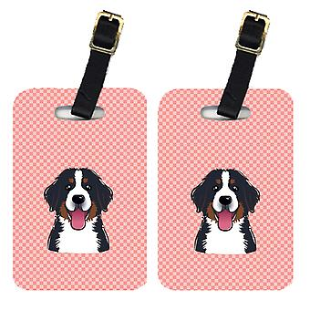 Pair of Checkerboard Pink Bernese Mountain Dog Luggage Tags