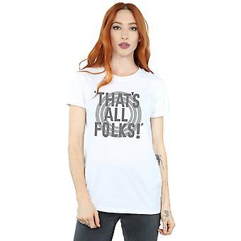 Looney Tunes Women's That's All Folks Text Boyfriend Fit T-Shirt