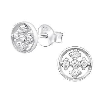 Раунд - 925 стерлингового серебра кубического циркония уха шпильки - W32063x