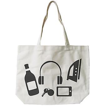 Roliga slumpmässiga personliga tillhörigheter Canvas väska mors dag presenter matkassar
