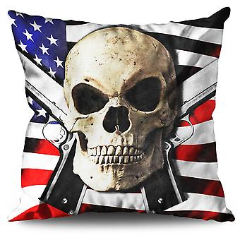 USA Gun Purge Rock Linen Cushion 30cm x 30cm | Wellcoda