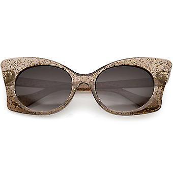 Doorschijnend Oversize Glitter vlinder zonnebril ronde Lens 54mm