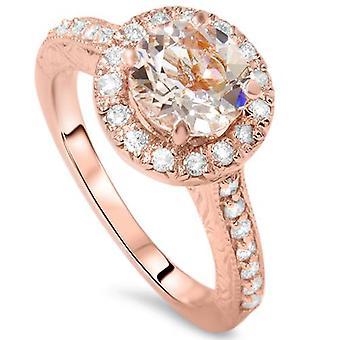 2 ct Vintage Morganite & Diamond Ring 14K Rose Gold