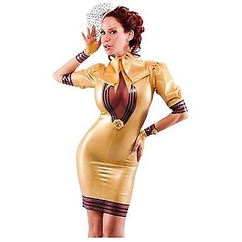 Vestover bundet Duchess De Femme Latex gummi Dress.