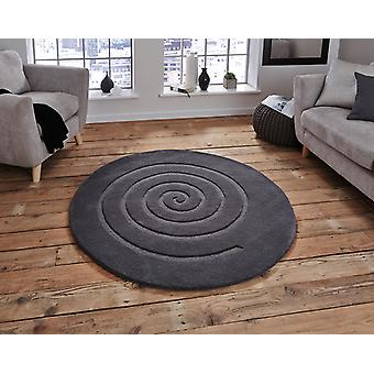 Spiral Grey  Circle Rugs Plain/Nearly Plain Rugs