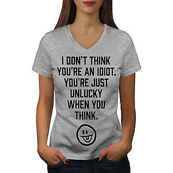 Idiot Offensive Funy Women GreyV-Neck T-shirt | Wellcoda