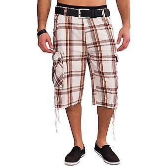 Mens Cargo Shorts VALNØTTER pledd Bermuda shorts cargo bukser rutete bomull